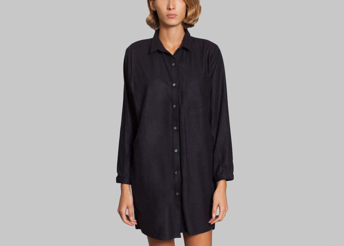 robe chemise bourette de soie le mont st michel noir en vente chez l exception