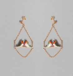 Couple Robin on Branch Earrings