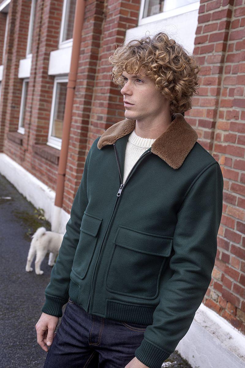 Blouson col mouton en laine vierge fabriqué en France - L'Exception Paris