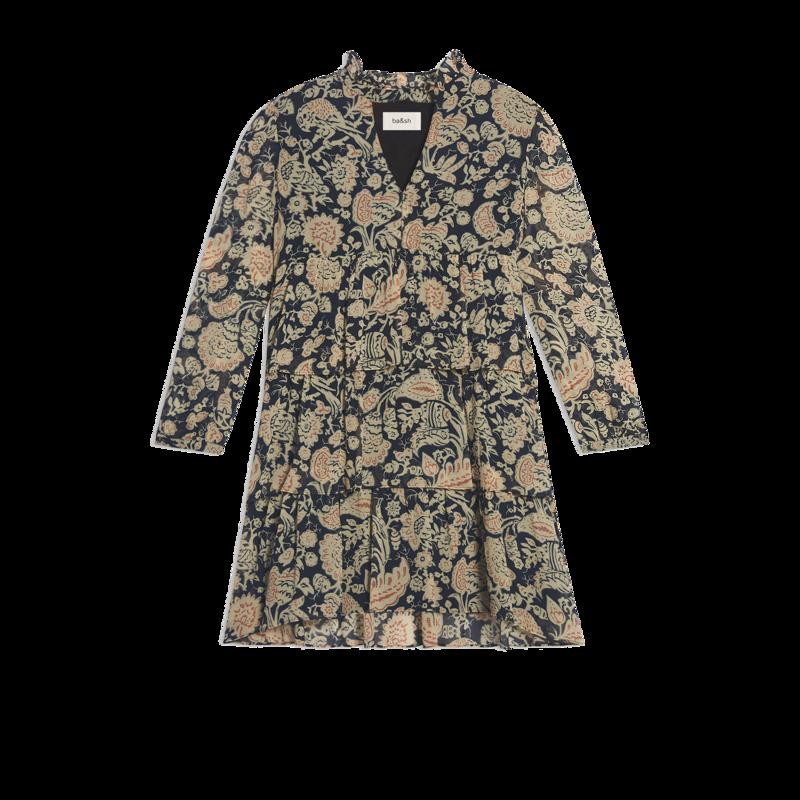 Robe manches longues imprimé fleuri Azur - Ba&sh