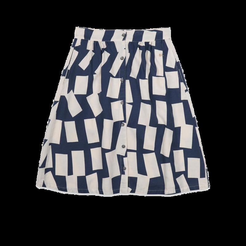 Jupe en lyocell et lin motif rectangles - Bobo Choses