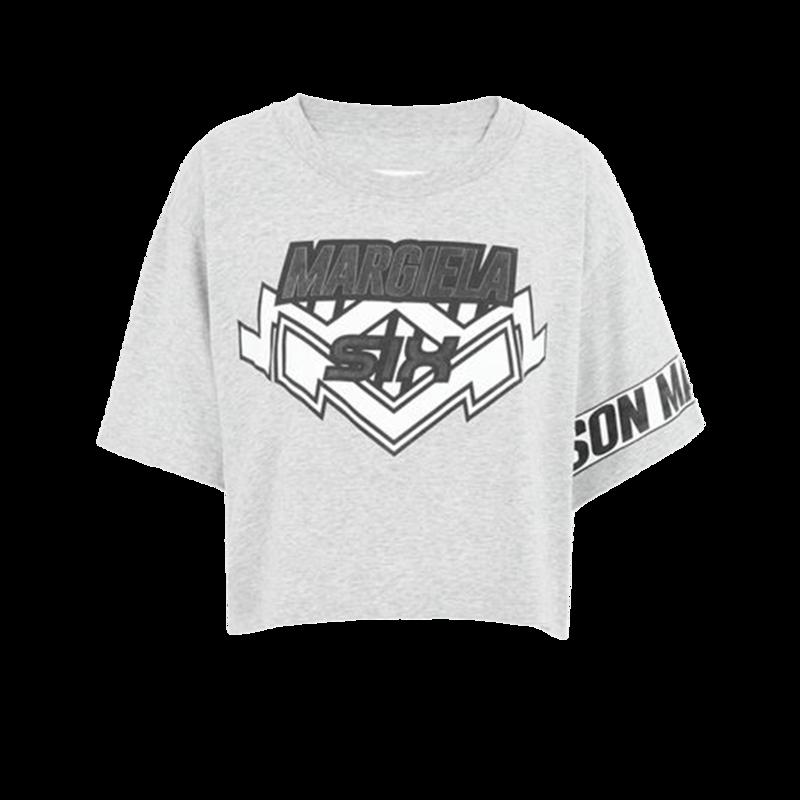 T-shirt cropped imprimé siglé motocross - MM6 Maison Margiela