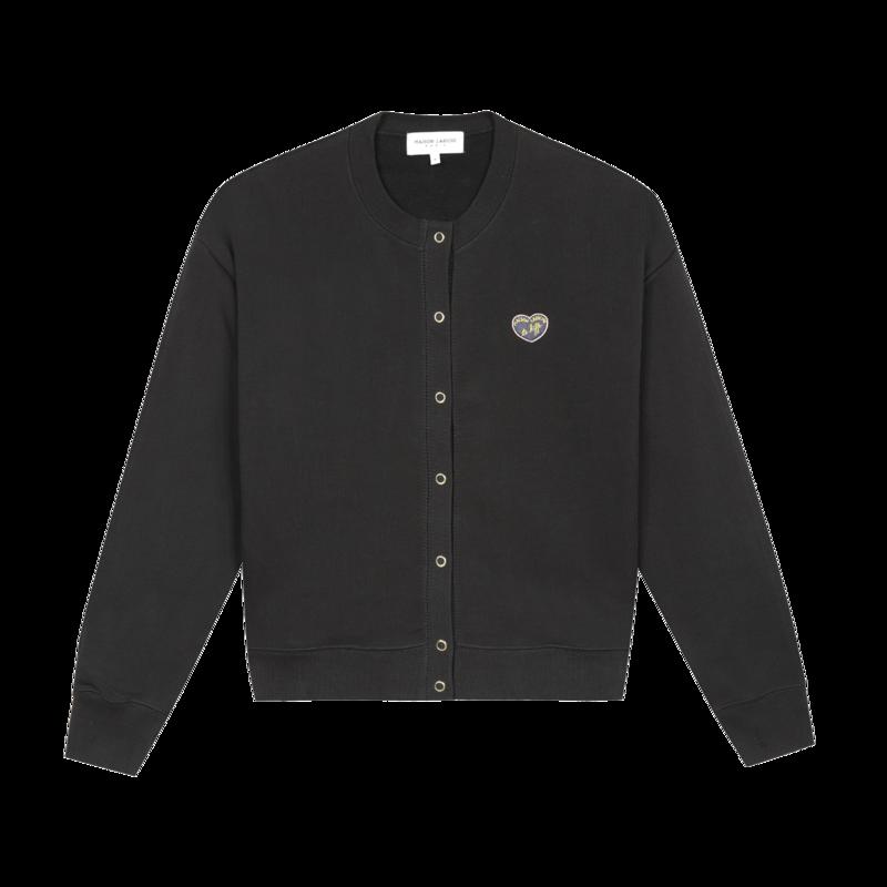 Cardigan en coton bio Patch Cœur - Maison Labiche