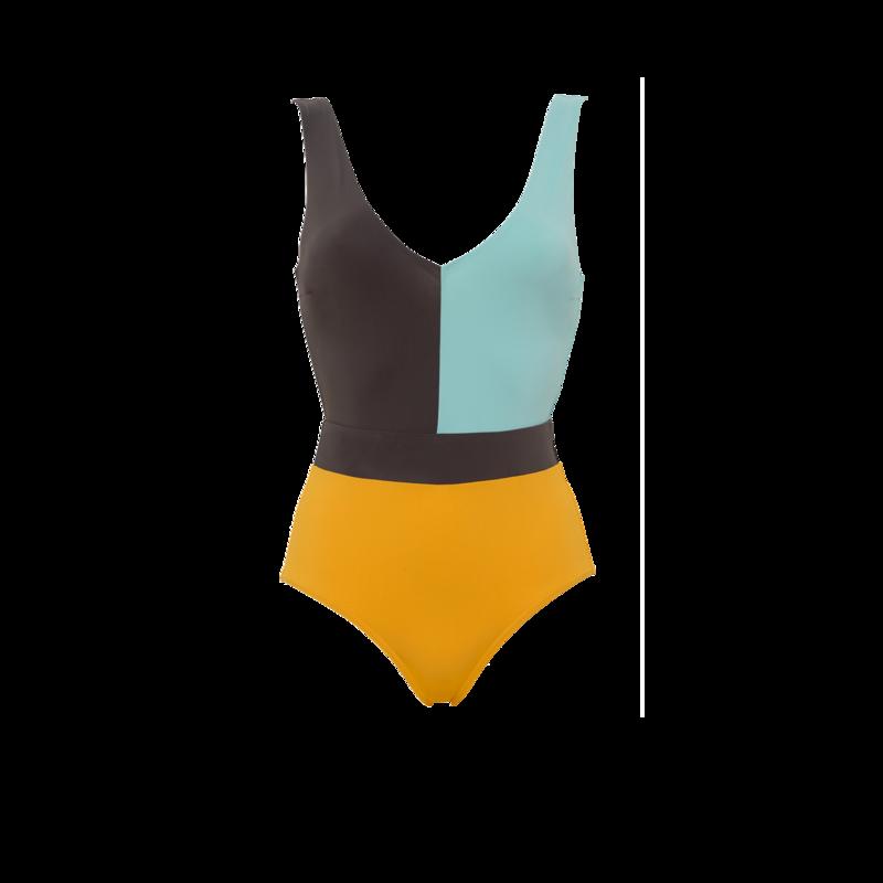 Maillot de bain 1 pièce décolleté V Colorblock - Maison Lejaby