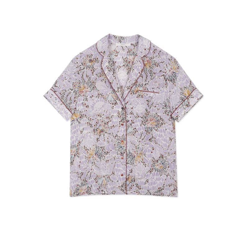 Chemise manches courtes en soie imprimé fleuri Gil - Sessun
