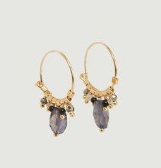 Boucles d'oreilles créoles avec pierres Seb