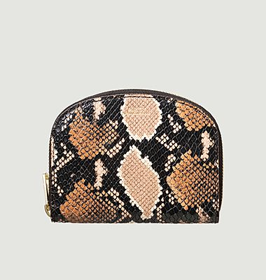 Python Embossed Leather Demi-Lune Compact Wallet