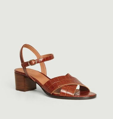 Sandales en cuir imprimé croco Coline