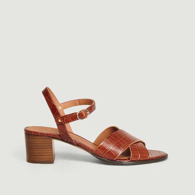 Sandales en cuir imprimé croco Coline - Anaki