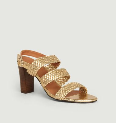 Sandales en cuir craquelé tressé Candice