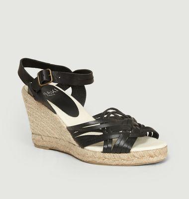 Sandales compensées en cuir et corde Paola