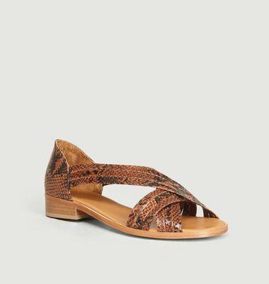 Sandales en cuir imprimé python Aurore
