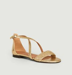 Tal cracked leather flat sandals