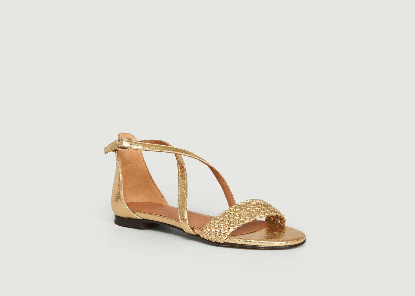 Sandales plates en cuir craquelé Tal - Anaki