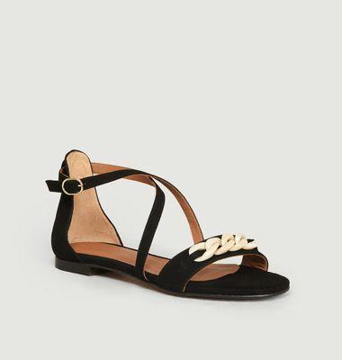 Sandales plates en daim Canelle