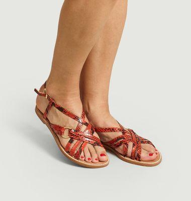 Sandales en cuir imprimé python Arianne