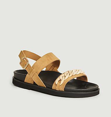 Sandales plates Ester en suède