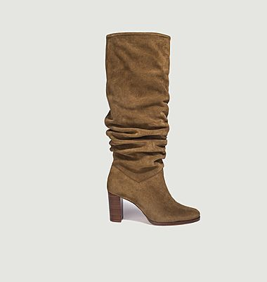 Maia Bis pleated suede leather high boots