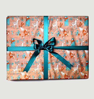 Papier cadeau réutilisable Les Copains du Bois L
