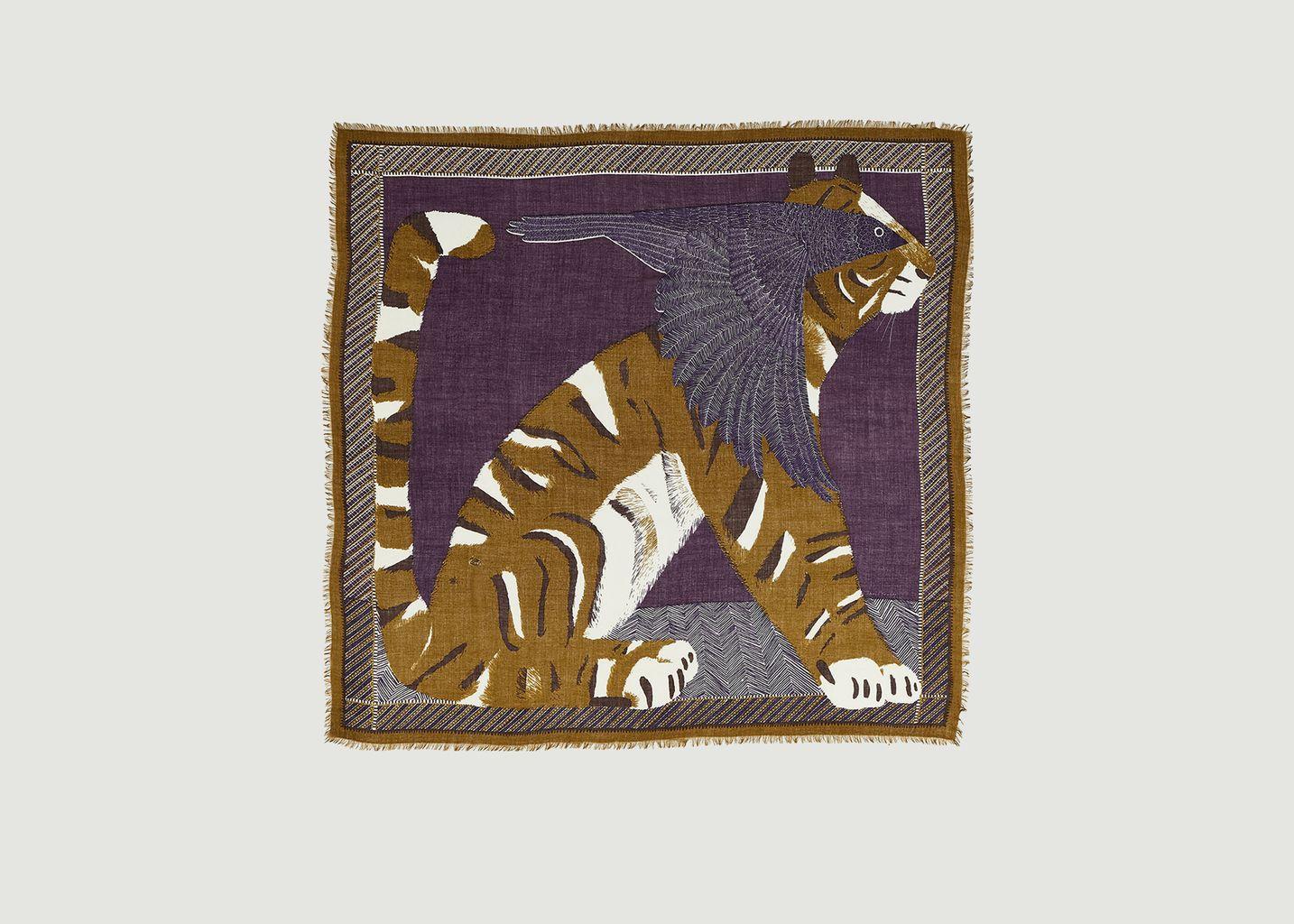 Etole carrée en laine motif tigre Jean-Loup - Inouitoosh