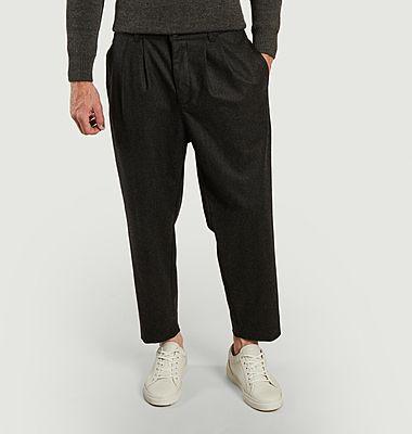 Pantalon large 7/8e en flanelle
