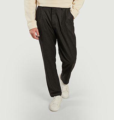 Pantalon large rayé à pinces