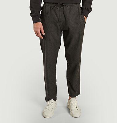 Pantalon relax en laine et coton