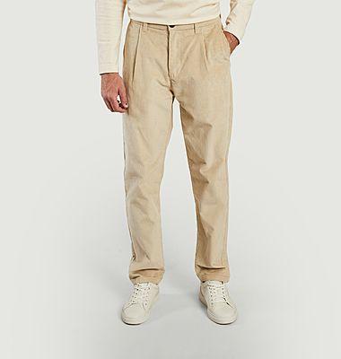 Pantalon large en velours côtelé à pinces