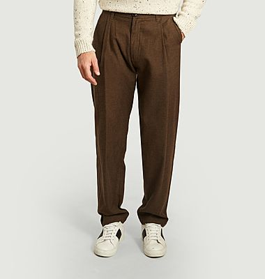 Wool and cotton pleated trousers