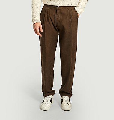 Pantalon à pinces en laine et coton