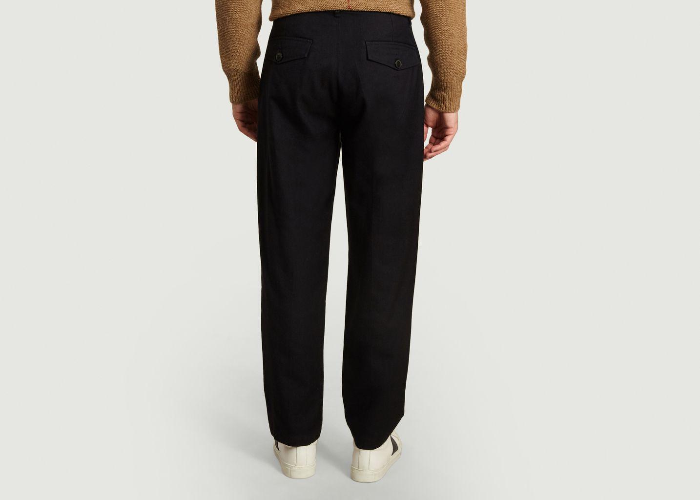 Pantalon à pinces en laine et coton - Outland