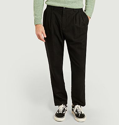 Woolen double pleated chino pants