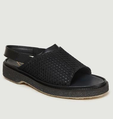 Sandales En Cuir Et Tissu Type 114