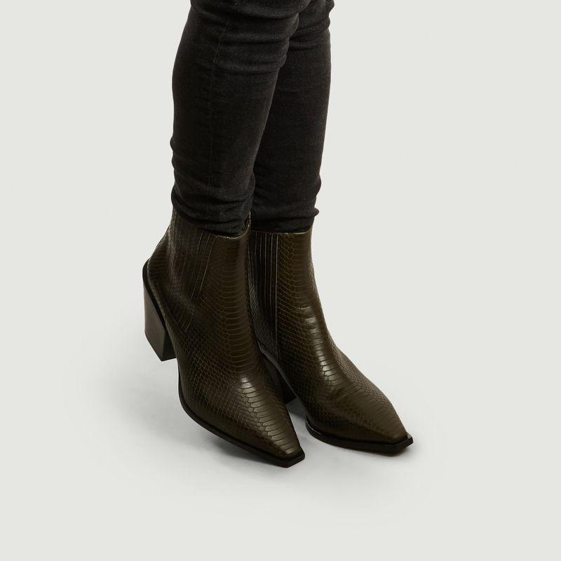 Kate Python Boots Khaki Aeyde | L'Exception