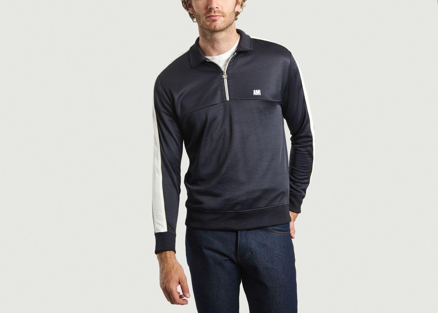 Sweatshirt Bicolore Mi-Zippé - AMI Alexandre Mattiussi