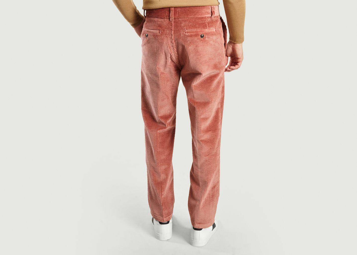 Pantalon Coupe Droite en Velours Rose - AMI Alexandre Mattiussi