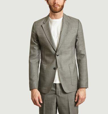 Veste deux boutons poches plaquées en laine natté