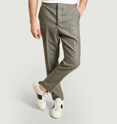 Pantalon carotte en laine natté
