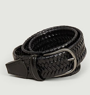 Elasticated braided leather belt