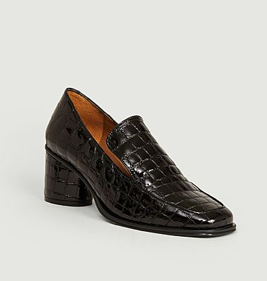 Simon croco effect leather heeled loafers