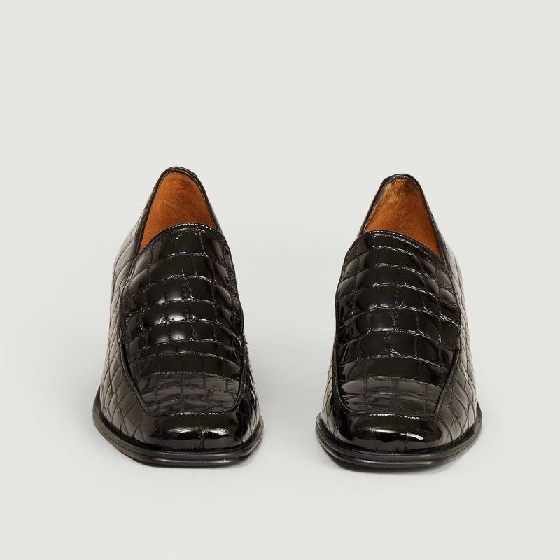 Mocassins à talons en cuir façon croco Simon - Anne Thomas Chaussures