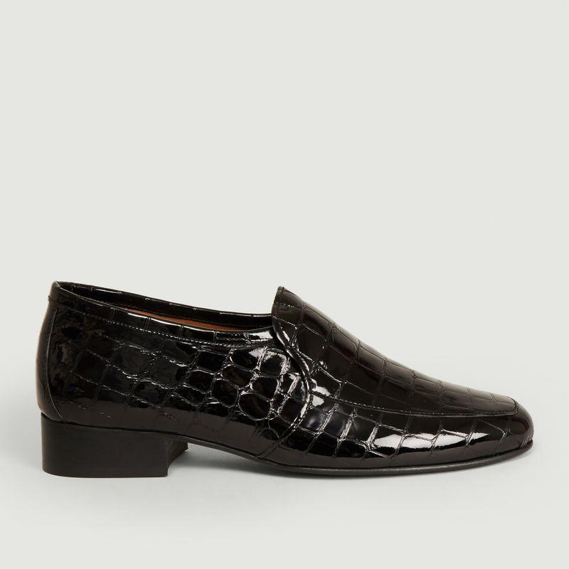 Mocassins en cuir façon croco Léo - Anne Thomas Chaussures
