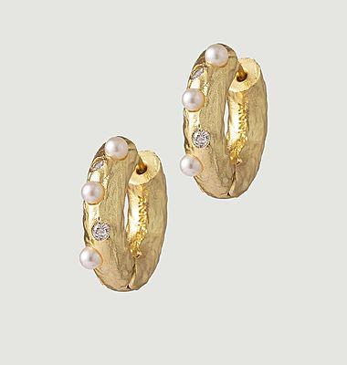 Boucles d'oreilles en laiton, perles et pierres