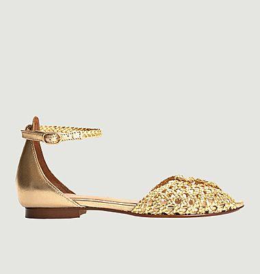 Sandales plates en cuir tressé Lucy 10