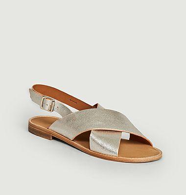Sandales en cuir lamé Birmanie
