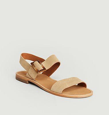 Sandales en cuir suédé Beauvoir