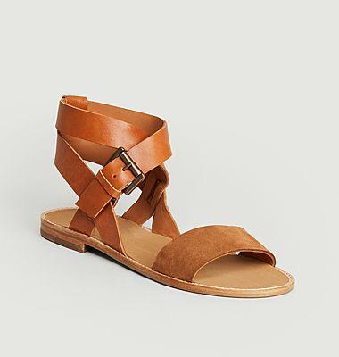Sandales en cuir bi-matière Billie