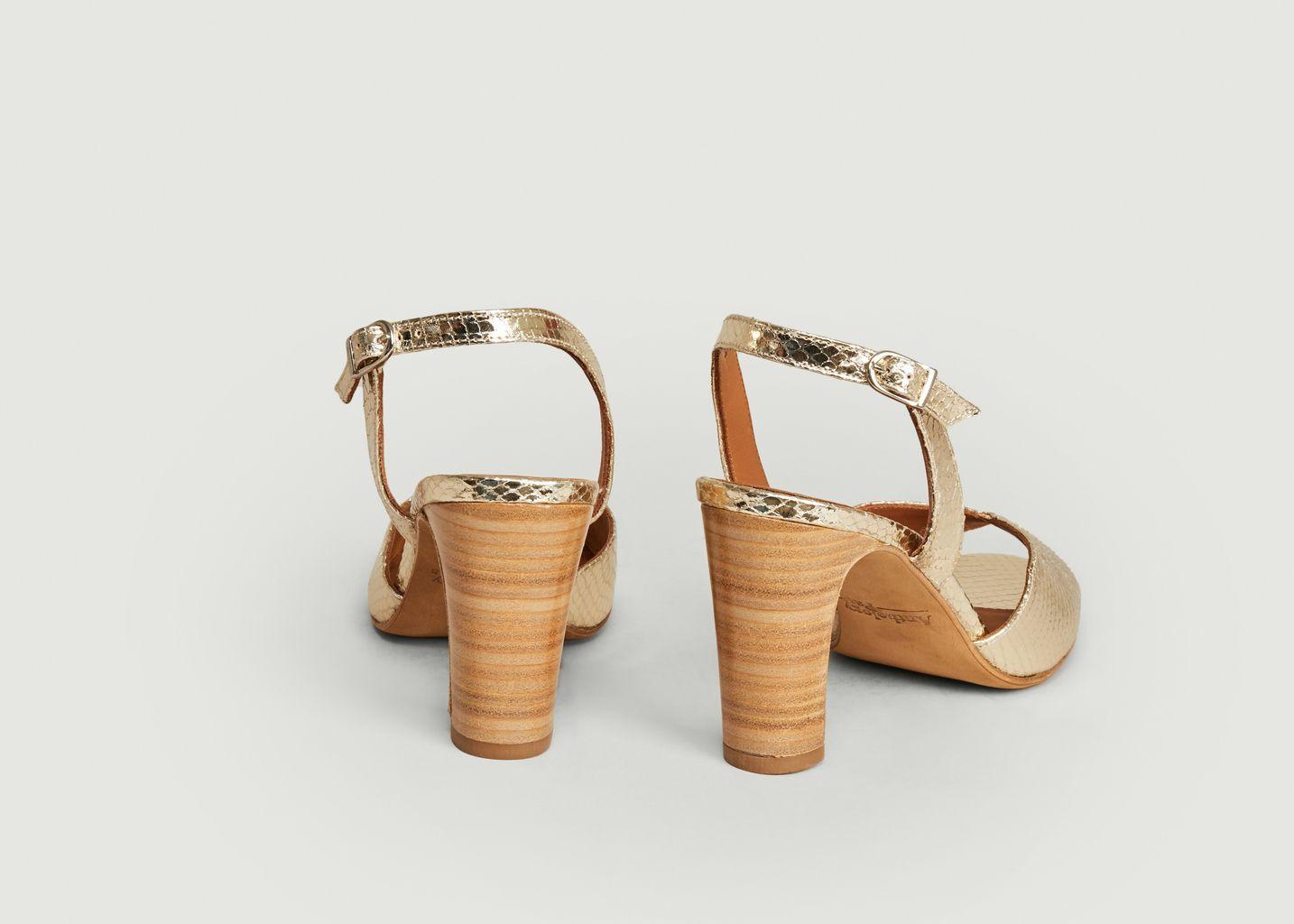 Sandales en cuir lamé motif serpent Aily - Anthology Paris