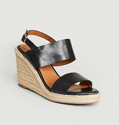 Sandales compensées en cuir Barano