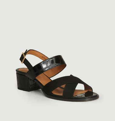 Sandales Uzes Bi-Matière Croco Velours